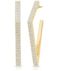 Anne Sisteron - 14kt Yellow Gold Diamond Edgy Wishbone Earrings - Lyst