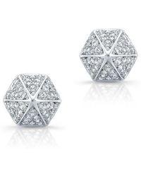 Anne Sisteron - 14kt White Gold Diamond Olympia Studs - Lyst