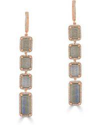 Anne Sisteron - 14kt Rose Gold Labradorite Diamond Geometric Earrings - Lyst