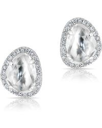Anne Sisteron - 14kt White Gold Mini Organic Topaz Diamond Stud Earrings - Lyst