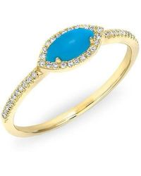 Anne Sisteron - 14kt Rose Gold Diamond Turquoise Mini Marquis Ring - Lyst