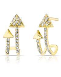 Anne Sisteron - 14kt Yellow Gold Diamond Curved Arrow Huggie Earrings - Lyst