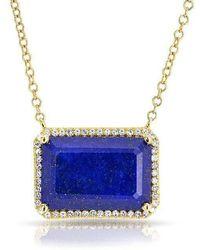 Anne Sisteron - 14kt Yellow Gold Lapis Diamond Rectangle Necklace - Lyst