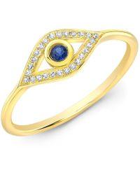 Anne Sisteron - 14kt Yellow Gold Diamond Sapphire Open Evil Eye Ring - Lyst