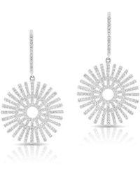 Anne Sisteron - 14kt White Gold Diamond Sun Rays Wireback Earrings - Lyst