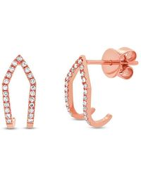 Anne Sisteron | 14kt Rose Gold Diamond Victoria Huggies | Lyst