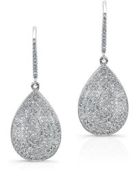 Anne Sisteron - 14kt White Gold Diamond Medium Pear Shaped Earrings - Lyst