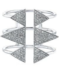 Anne Sisteron - 14kt White Gold Diamond Triple Spike Ring - Lyst
