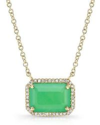 Anne Sisteron - 14kt Yellow Gold Chrysoprase Diamond Chic Necklace - Lyst