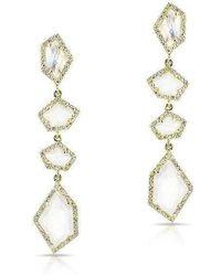 Anne Sisteron - 14kt Yellow Gold Moonstone Diamond Organic Quadruple Drop Earrings - Lyst