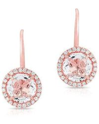 Anne Sisteron - 14kt Rose Gold Round White Topaz Diamond Earrings - Lyst