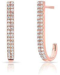 Anne Sisteron - 14kt Rose Gold Diamond Medium Hook Stud Earrings - Lyst