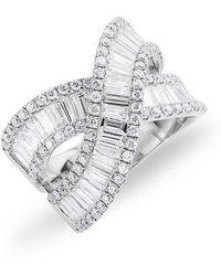 Anne Sisteron - 14kt White Gold Baguette Diamond Wrap Ring - Lyst