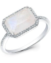 Anne Sisteron - 14kt White Gold Moonstone Diamond Chic Ring - Lyst