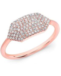 Anne Sisteron - 14kt Rose Gold Diamond Buckle Ring - Lyst