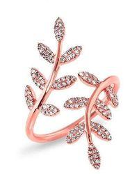 Anne Sisteron - 14kt Rose Gold Diamond Ivy Ring - Lyst
