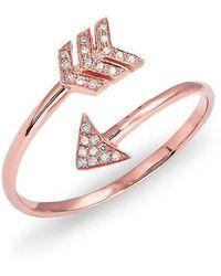Anne Sisteron - 14kt Rose Gold Diamond Mini Arrow Wrap Ring - Lyst
