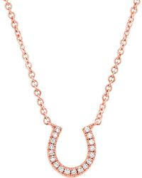 Anne Sisteron - 14kt Rose Gold Diamond Horseshoe Necklace - Lyst