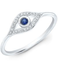 Anne Sisteron - 14kt White Gold Diamond Sapphire Open Evil Eye Ring - Lyst