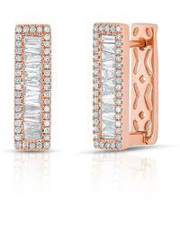 Anne Sisteron - 14kt Rose Gold Baguette Diamond Rectangle Honey Huggie Earrings - Lyst