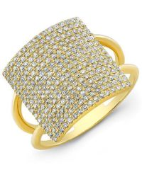 Anne Sisteron - 18kt Yellow Gold Diamond Square Ring - Lyst
