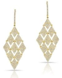 Anne Sisteron - 14kt Yellow Gold Diamond Triangle Chime Earrings - Lyst