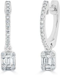 Anne Sisteron - 14kt White Gold Mini Baguette Diamond Rectangle Ryleigh Drop Earrings - Lyst