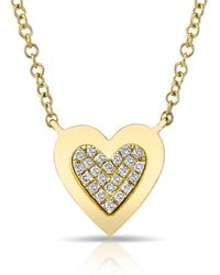 Anne Sisteron - 14kt Yellow Gold Diamond Core Heart Necklace - Lyst