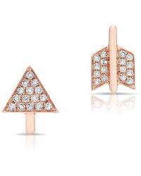 Anne Sisteron - 14kt Rose Gold Diamond Split Arrow Stud Earrings - Lyst