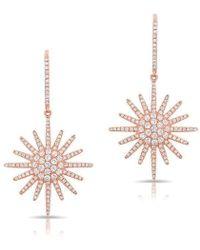 Anne Sisteron - 14kt Rose Gold Diamond Aurora Sun Earrings - Lyst