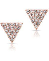 Anne Sisteron - 14kt Rose Gold Diamond Small Triangle Emma Stud Earrings - Lyst