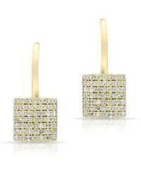 Anne Sisteron - 14kt Yellow Gold Diamond Square Wireback Earrings - Lyst