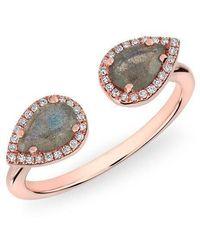 Anne Sisteron - 14kt Rose Gold Labradorite Diamond Throne Ring - Lyst