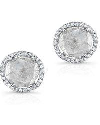 Anne Sisteron - 14kt White Gold Diamond Slice Stud Earrings - Lyst