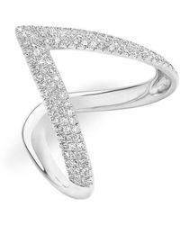 Anne Sisteron - 14kt White Gold Diamond Bold V Ring - Lyst