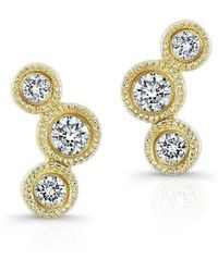 Anne Sisteron - 14kt Yellow Gold Bezel Set Diamond Hazel Earrings - Lyst