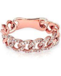Anne Sisteron - 14kt Rose Gold Diamond Chain Link Light Ring - Lyst