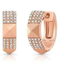 Anne Sisteron | 14kt Rose Gold Diamond Pyramid Huggies | Lyst