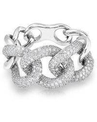 Anne Sisteron - 14kt White Gold Luxe Diamond Chain Link Ring - Lyst