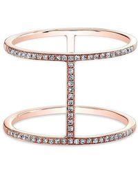 Anne Sisteron | 14kt Rose Gold Diamond H Trois Ring | Lyst