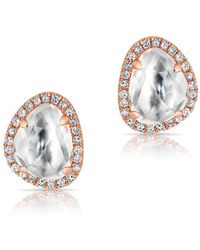 Anne Sisteron | 14kt Rose Gold Mini Organic Topaz Diamond Stud Earrings | Lyst