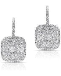 Anne Sisteron - 14kt White Gold Diamond Cushion Earrings - Lyst