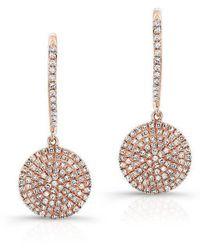 Anne Sisteron - 14kt Rose Gold All Diamond Disc Earrings - Lyst