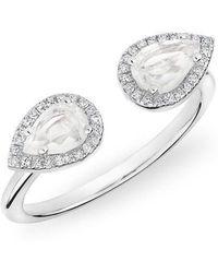 Anne Sisteron - 14kt White Gold Moonstone Diamond Throne Ring - Lyst