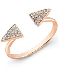 Anne Sisteron | 14kt Rose Gold Diamond Double Triangle Ring | Lyst