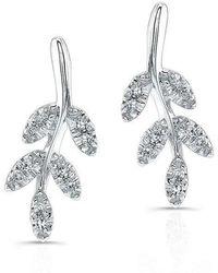 Anne Sisteron - 14kt White Gold Diamond Ivy Stud Earrings - Lyst