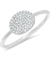 Anne Sisteron - 14kt White Gold Diamond Pave Oval Ring - Lyst