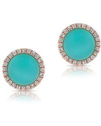 Anne Sisteron | 14kt Rose Gold Turquoise Diamond Disc Stud Earrings | Lyst
