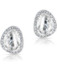 Anne Sisteron - 14kt White Gold Mini Organic Topaz Diamond Stud Earrings - Lyst