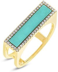 Anne Sisteron - 14kt Yellow Gold Turquoise Diamond Bar Ring - Lyst